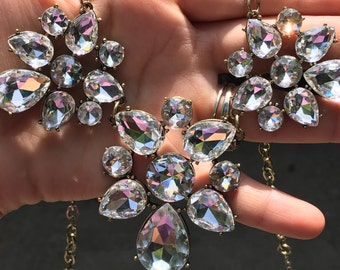 Statement Necklace, Crystal Necklace, Bib Necklace, Special Event Necklace, Bronze Tone Necklace,