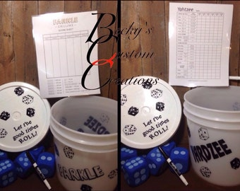 Yardzee/Farkle game with bucket, lid, laminated scorecard, dice & Dry Erase marker
