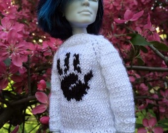 Monster High doll clothes. Hand-Knitted White Sweater for MH boys. Hand knitting for 12 inch dolls