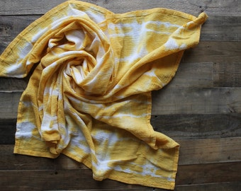 Cotton Gauze Crinkle Hand Dyed Swaddle Blanket - Marigold