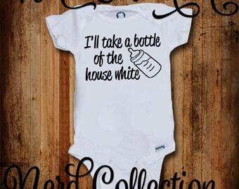 Baby Onesie I'll Take a Bottle of the House White Wine Milk Bottle Baby Shower Gift Nursery Humerious Funny Custom Baby Clothing Gerber