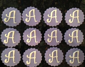 Monogram/Inital Fondant Cupcake Toppers