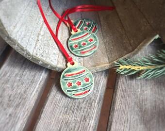 Mini Green Christmas Tree Ornament | Ceramic Green Christmas bulb Ornament | Stoneware bulb | Pottery Christmas ornament | Ceramic gift tag