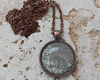 Paris - antique map necklace