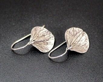 Hydrangea Leaf Sterling Silver, Nature, Leaf, Leaves, Dangle Silver Drop Earrings, Earrings, Hydrangea, Silver Earrings Simple Jewelry Gift