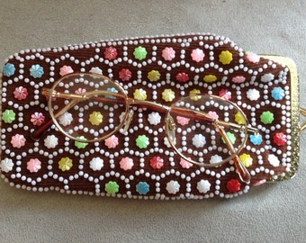 Glasses 1960s Super Kitsch case embroidered beads plastic