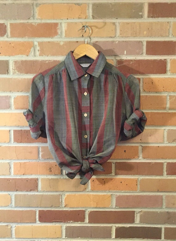 Vintage Striped Sheer Button Up Blouse