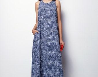 Blue Maxi Dress, Summer Maxi Dress, Long Summer Dress - Aliz, size:L,XL