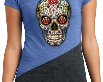 Ladies Skull Shirt Sugar Skull with Roses Tri Blend Crewneck Tee T-Shirt WS-16553-DT243