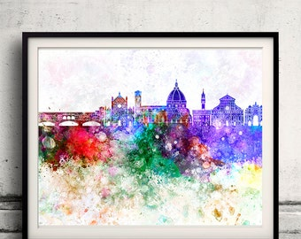Florence skyline in watercolor background - Poster Digital Wall art Illustration Print Art Decorative - SKU 2165