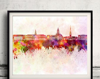 Harvard skyline in watercolor background - Poster Digital Wall art Illustration Print Art Decorative - SKU 1431