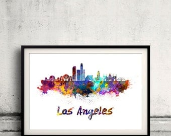 Los Angeles skyline in watercolor over white background with name of city - Poster Wall art Illustration Print - SKU 1892