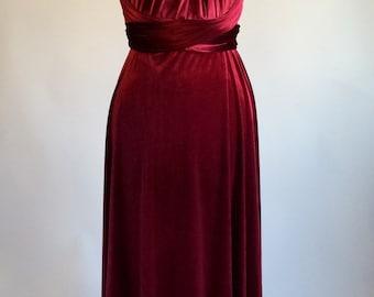Infinity dress, bridesmaid dress, prom dress, red velvet dress, ball gown, long dress, evening dress, convertible dress, party dress