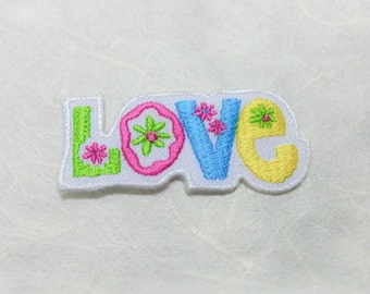 Love Text Iron on  Patch - Text - Words - Message Iron On Patch Embroidered Applique Size 5.1x 2.2 cm
