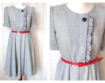 Sale Vintage 50's style gingham small check tea dress black & off white size EU 36