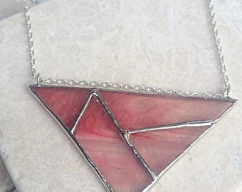 Triangle Geometric Stained Glass Necklace