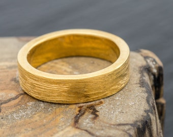 Hand Panned British Gold and 18ct EcoGold Brushed Wedding Ring