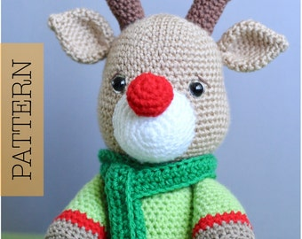 Crochet Amigurumi Reindeer PATTERN ONLY, Noel, Christmas Reindeer, pdf Stuffed Animal Toy Pattern