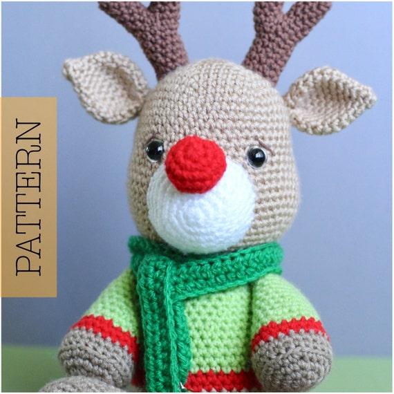 Christmas Reindeer Amigurumi : Crochet Amigurumi Reindeer PATTERN ONLY Noel Christmas