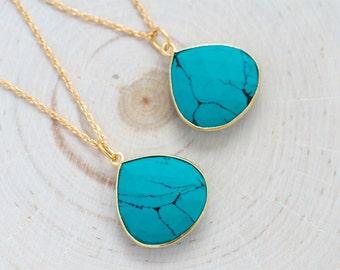 Turquoise Necklace, Gemstone Necklace,Pendant Necklace,Turquoise Jewelry,Gold Necklace,Blue Turquoise,Tear Drop Pendant