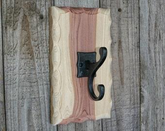 Towel Hook, Hat Hook,  Rustic Hook, Leash Holder, Key Hook, Entry Hook,  Coat Hanger, Natural Finish
