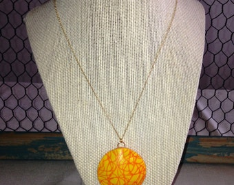 Round Silk Screen Pattern Polymer Clay Pendant Necklace