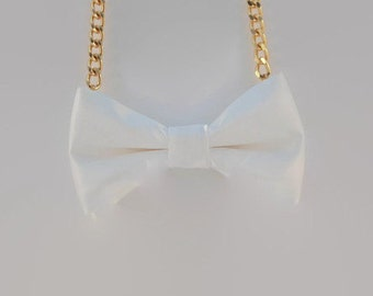 White Bow Tie Necklace - Bow Jewelry, Accessories, Statement Necklace - Easy No Tie Bow Tie - Great for Office, Wedding - Vanilla Cream