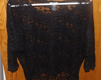 SALE Black Semi Sheer Lace High Low Shirt Small