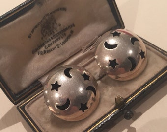 Vintage Silver Star and Moon earrings, Gorgeous item