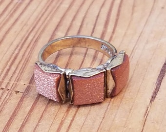 Painted Gold Sterling Silver ring with Shiny Orange Accents