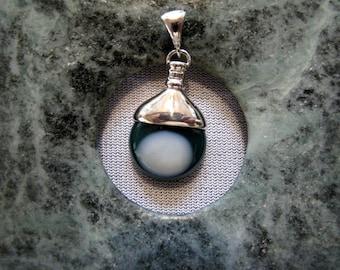 Green Jasper Pendant 15 mm stone set in Sterling Silver