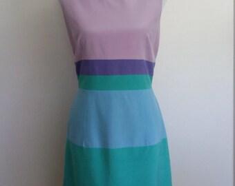 Rainbow dress, L, silk dress, striped dress, colorful dress, purple silk dress, blue silk dress, shift dress, boatneck dress