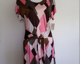 Mod dress, L, abstract dress, pink dress, silk dress, geometric dress, brown dress, colorful dress