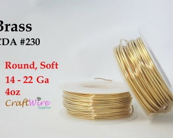 Jeweler's Brass Wire, 4 oz 14, 16, 18, 20, 22 Gauge Brass Wire, Red Brass Wire, Dead Soft, Round, NuGold, Jeweler's Bronze or Merlin's Gold