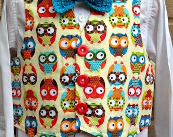Owls - Little Lads Waistcoat - Boys Lined Waistcoat - Age 4 years - Boys Vest - Bow Tie