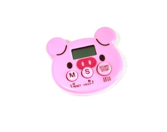 Piggy Kitchen Timer / Magnetic Cooking Timer / Kawaii Pink Pig Kitchen Clock Magnet / Cute Kitchen Decor / Kids Cooking Timer Baking Tool
