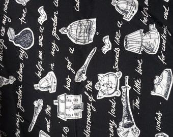 Vintage,Whimsical,Black n White Rayon Print
