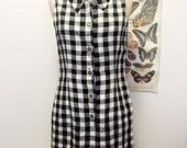 SALE! black and white plaid button down dress