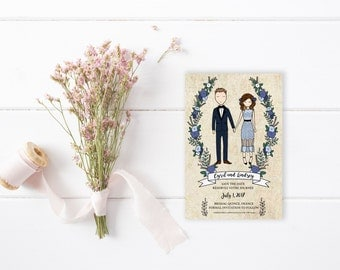 Custom Couple Portrait Illustration Save The Date | Engagement, Announcement, Wedding Invitation, Gift Idea or Thank You's