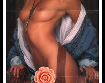 "Mature Playboy May 1987 : Playmate Centerfold Kymberly Paige Gatefold 3 Page Spread Photo Wall Art Decor 11"" x 23"""