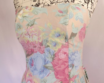 Midi Floral Strapless Dress