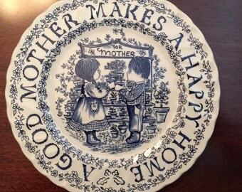 "For Mom's Day! ""A Good Mother Makes A Happy Home""- Royal Crownford / Staffordshire, England - 9"" Decorative Display Plate SHIPPING INCLUDED!"