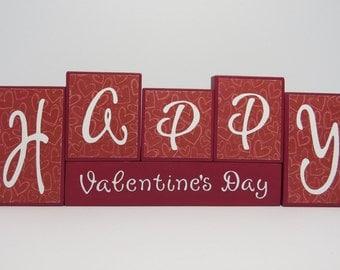Happy Valentines Day Block Set, Valentines day decorations, Valentines day, Wooden block set, valentines day blocks, block set, valentines