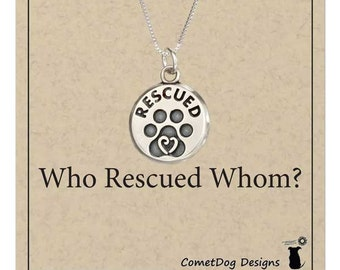"Sterling Silver Paw Print with Heart ""RESCUED"" Pendant Necklace"