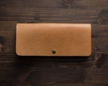 Long Leather Wallet, Womens Purse, Leather clutch, Slim wallet, Travel wallet, Full grain leather, Gift for her, Women Gift, Handcrafted