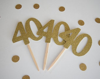 40th Birthday Cupcake Toppers, 40th Birthday, Glitter Cupcake Toppers, Set of 12