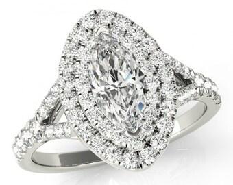 1.80 Carat Marquise Supernova Moissanite & Diamond Double Engagement Ring 14k 18k Platinum Marquise Moissanite Engagement Rings Cyber Monday
