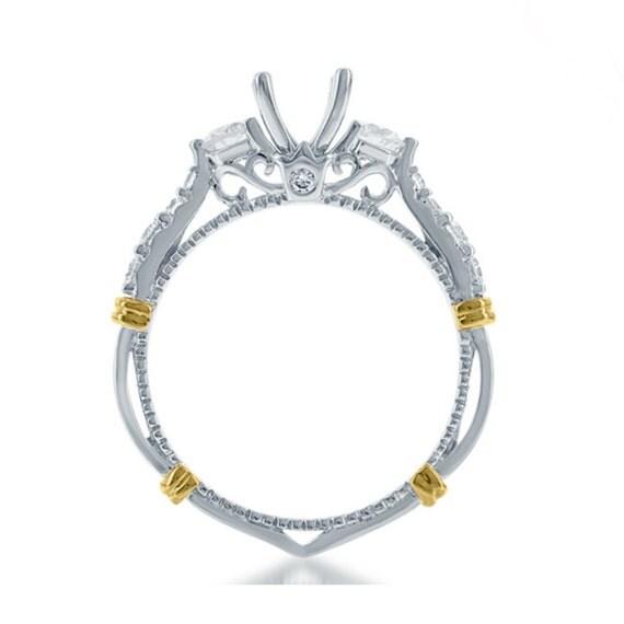 Diamond Vintage Inspired 14k Two Tone Engagement Ring Semi