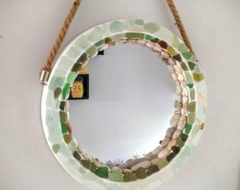 Sea Glass or Seaglass Porthole Mirror