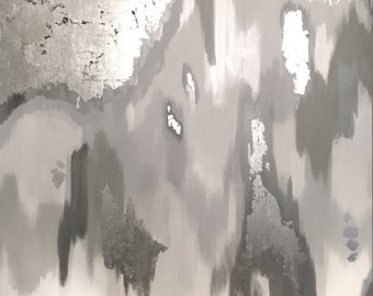 Silver Touch 48x48 original abstract painting on high quality, 1.5 in thick, gallery wrapped canvas